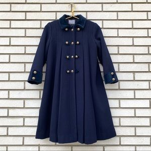 Rothschild Girls Navy Wool Velvet Dress Coat